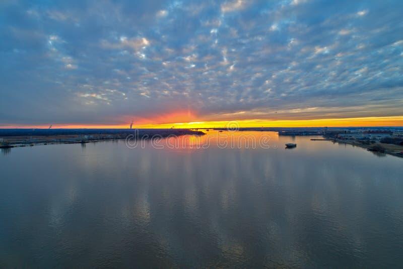 Aerial View of Sunset over Delaware River Philadelphia.  stock photos