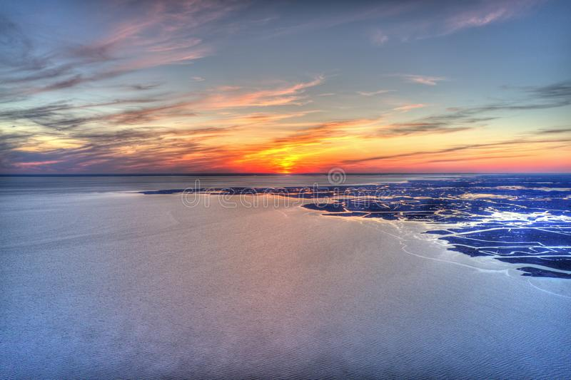 Aerial View of Sunset over Delaware River Philadelphia PA.  stock photography