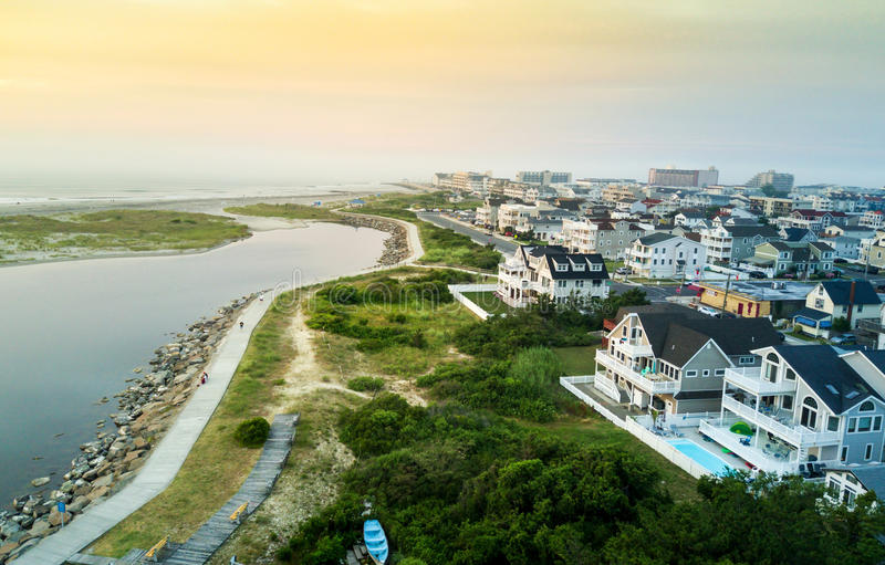 Aerial view of the sunset over North Wildwood sea wall royalty free stock photo