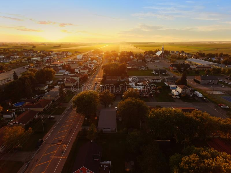 Aerial view of sunset on a small town stock photos