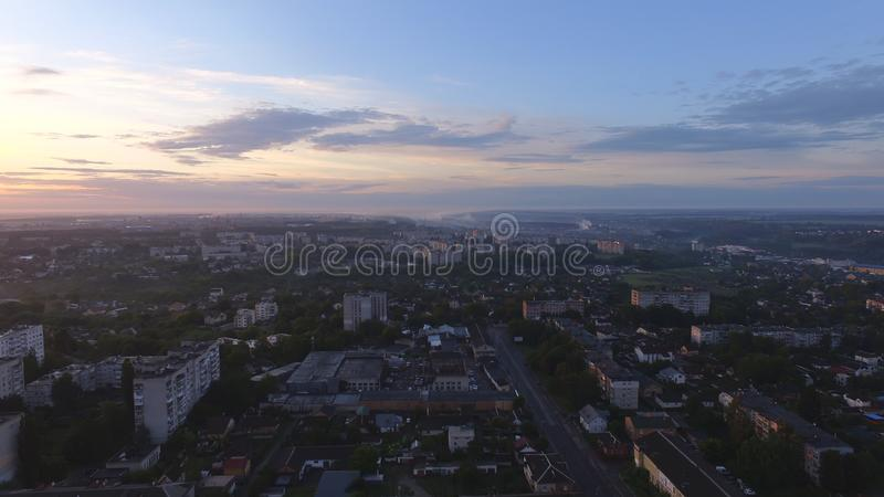 Aerial view of sunset in Zhytomyr city, Ukraine. Great sunrise. Scene. Fantastic landscape, above, architecture, attraction, avenue, beautiful, blue, building royalty free stock photography