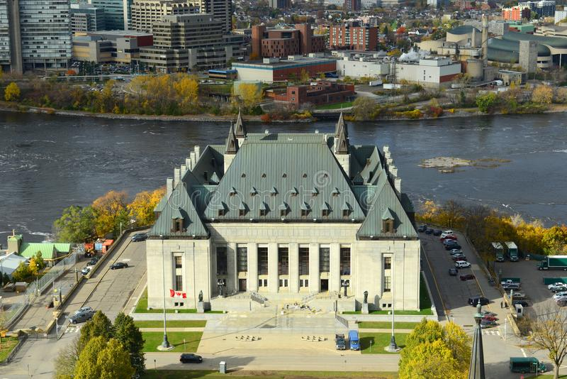 Supreme Court of Canada, Ottawa. Aerial view of Supreme Court of Canada, Ottawa, Ontario, Canada royalty free stock photo