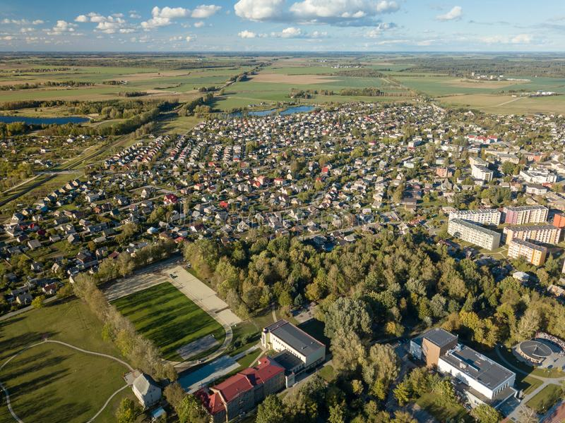 Aerial view of surburban houses in Joniskis, Lithuania. Autumn sunset. stock photos