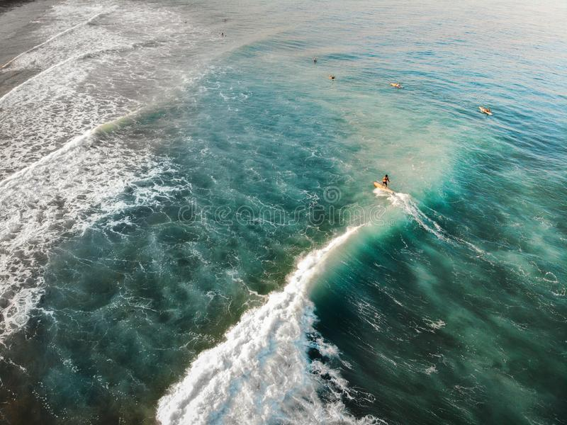 Aerial View of Surfing at San Juan, La Union - The Philippines stock photos