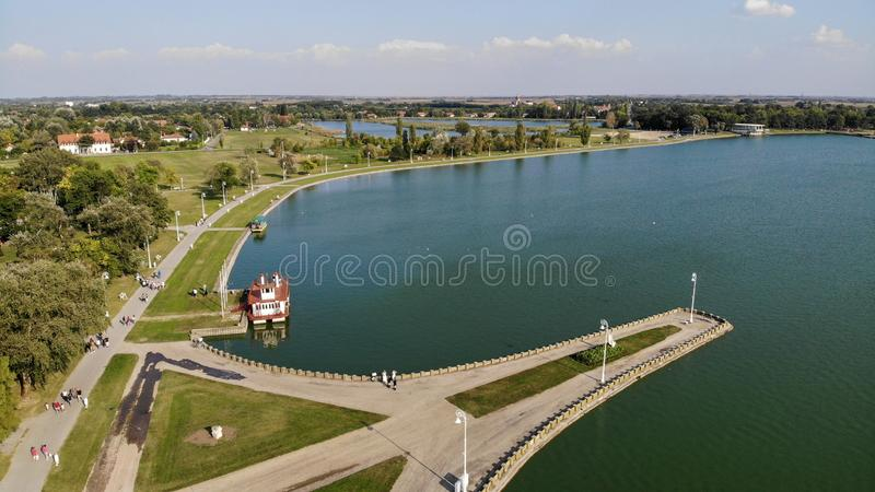 Aerial view of surrounding of Palic lake stock photo