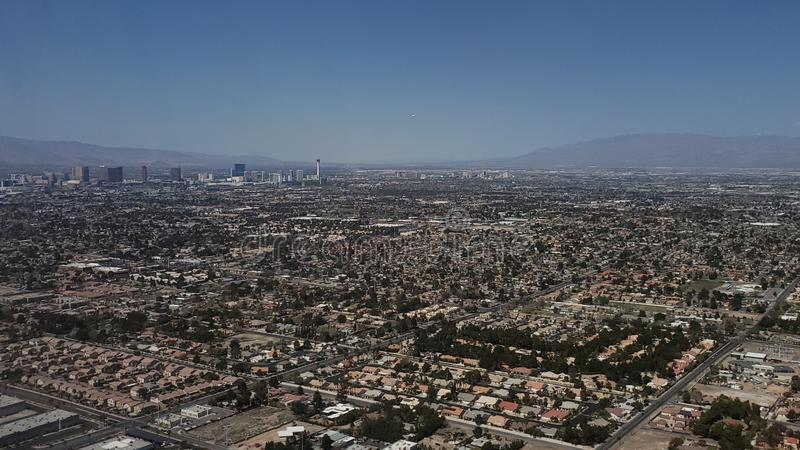 aerial view of the surroundings of the city of Las Vegas, Nevada royalty free stock image