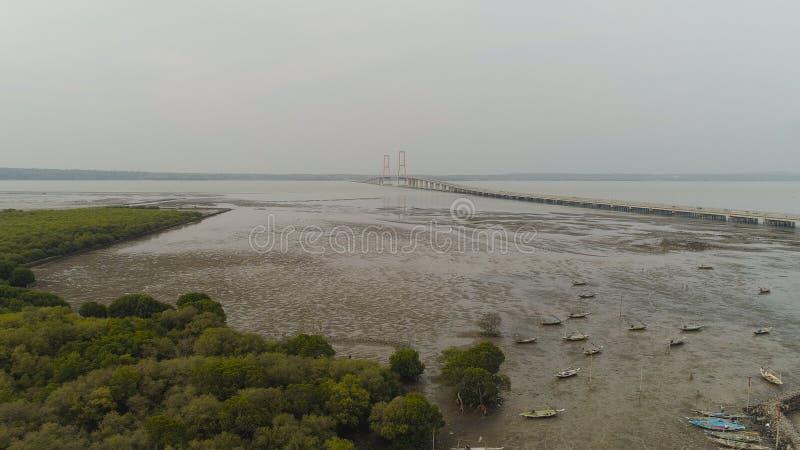 Suspension cable bridge in surabaya stock photography