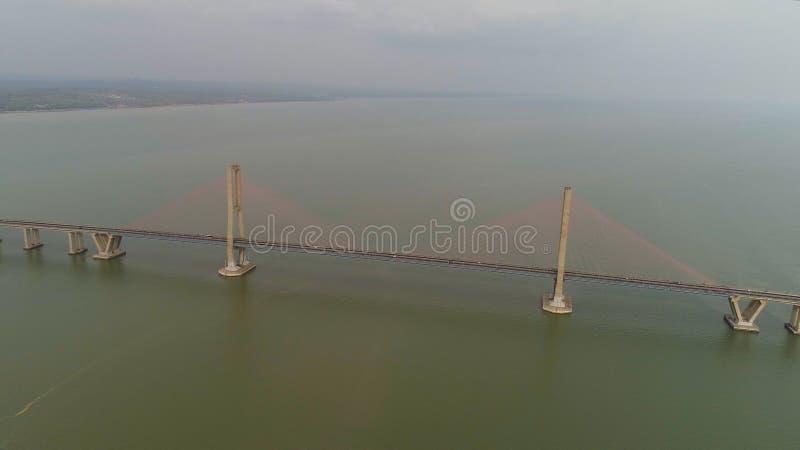 Suspension cable bridge in surabaya stock images