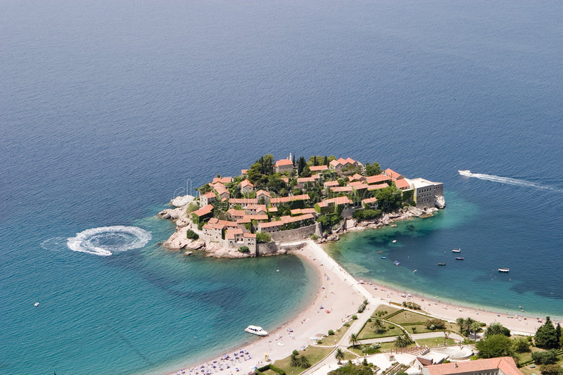 Aerial View of Sveti Stefan stock photography