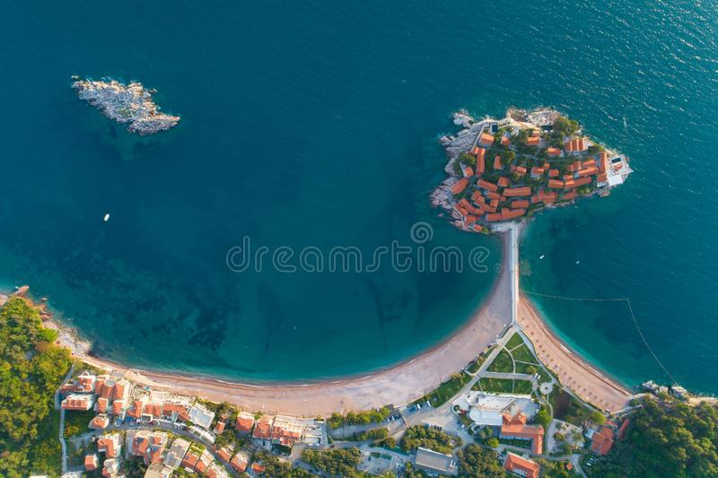 Aerial view of Sveti Stefan island in Budva royalty free stock photos