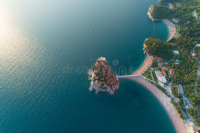 Aerial view of Sveti Stefan island in Budva. Montenegro stock photos