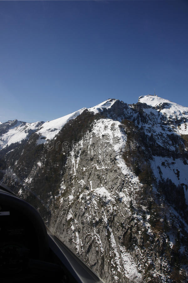 Aerial View Swiss Alps stock photo
