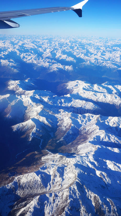 Aerial view on the Swiss alps royalty free stock photos