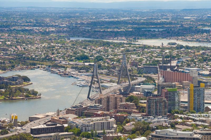 Aerial view of Sydney with Anzac bridge and north suburbs royalty free stock photography