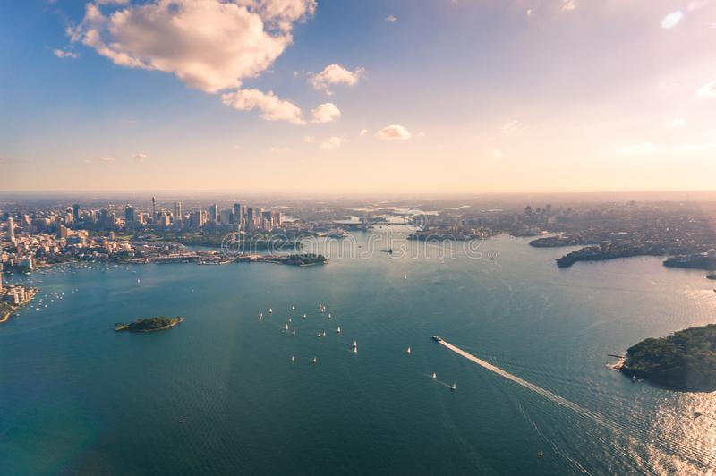 Aerial view of Sydney Central Business District and Harbour. With yachts and ferries. Australia stock photos