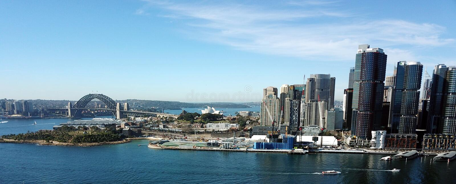 Aerial view of Sydney Harbour, Harbour Bridge. With financial district in Barangaroo stock photos