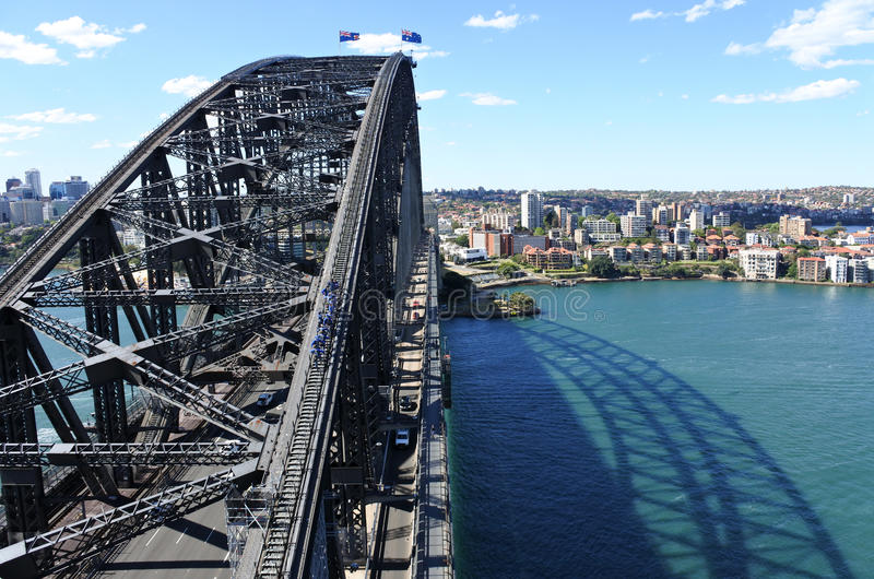 Aerial view of Sydney Harbour Bridge stock image