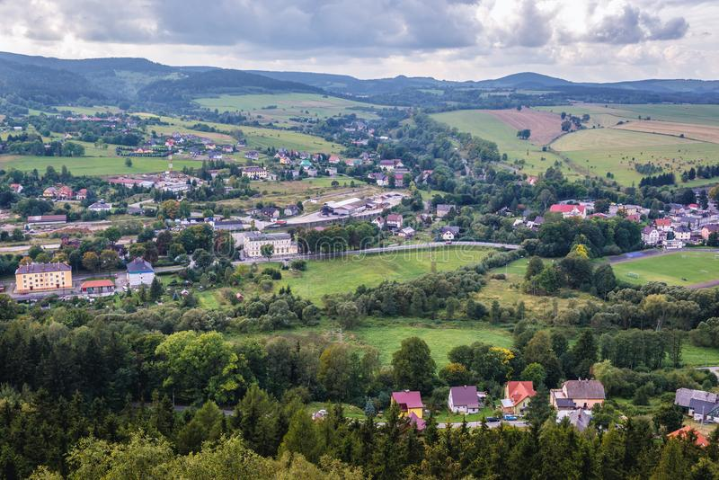 Szczytna in Poland. Aerial view of Szczytna town in Klodzko County, located in Central Sudetes Mountains, Poland royalty free stock photography