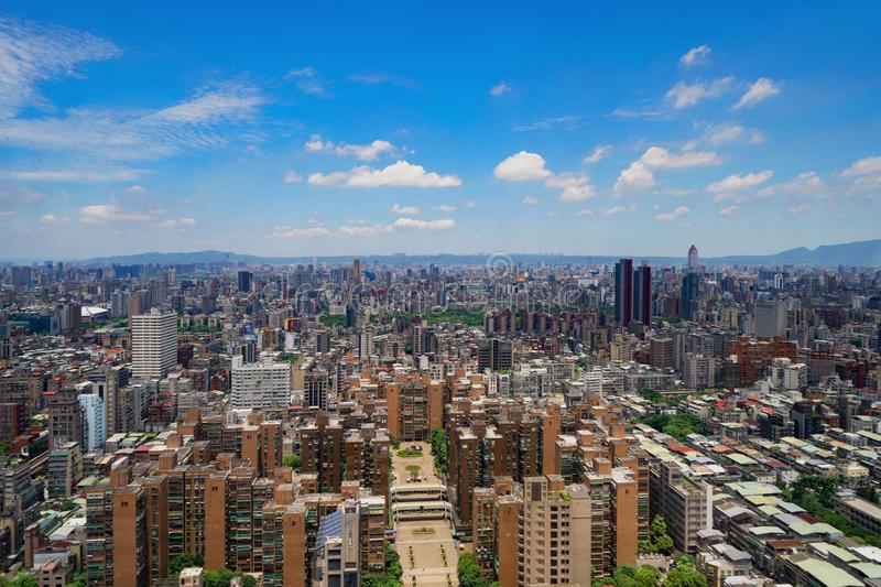 Aerial view of Taipei Downtown, Taiwan. Financial district and business centers in smart urban city. Skyscraper and high-rise stock photography