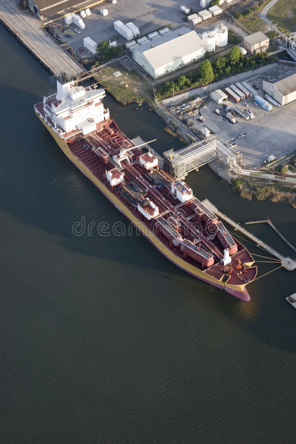 Download Aerial View Of Tanker In Port Stock Image - Image: 5168035