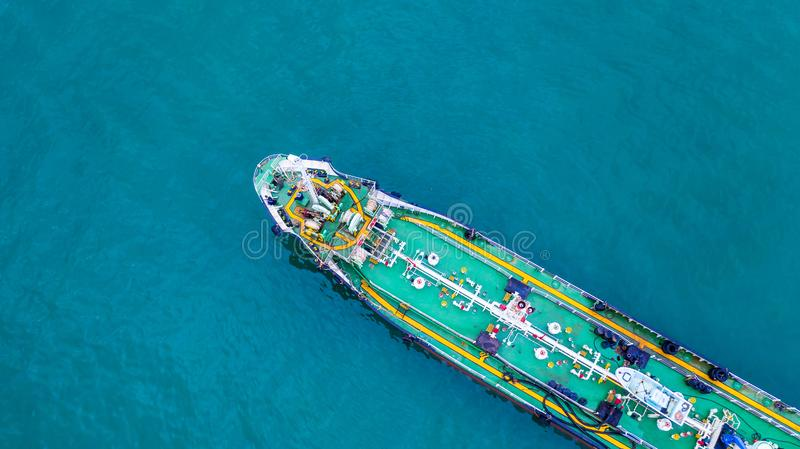 Aerial view tanker ship, Tanker ship carrying oil and gas in the sea support freight transportation import export business. Logistic stock photos