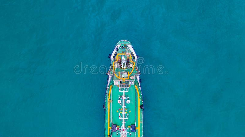 Aerial view tanker ship, Tanker ship carrying oil and gas in the sea support freight transportation import export business. Logistic royalty free stock image