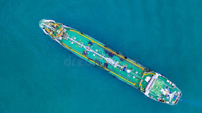 Aerial view tanker ship, Tanker ship carrying oil and gas in the sea support freight transportation import export business. Logistic stock photo