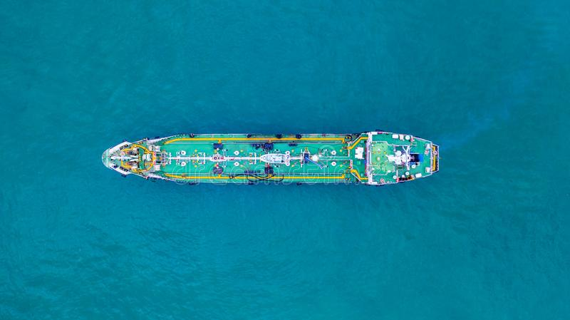 Aerial view tanker ship, Tanker ship carrying oil and gas in the sea support freight transportation import export business. Logistic stock image