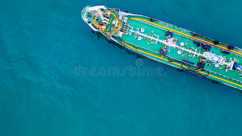 Aerial view tanker ship, Tanker ship carrying oil and gas in the sea support freight transportation import export business. Logistic stock images