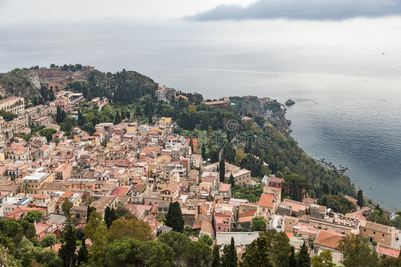 Aerial view of Taormina and Mediterranean sea, Sicilian Island, Italy stock photos