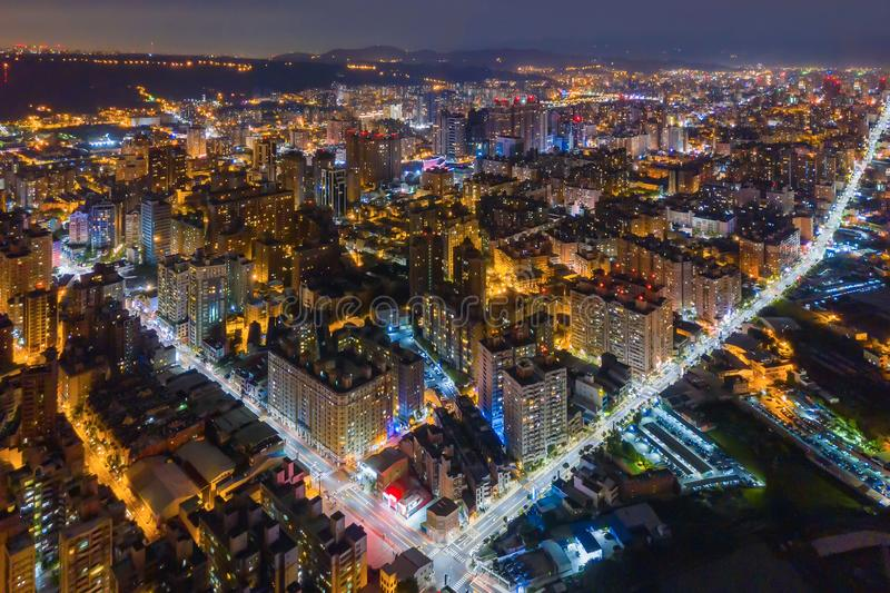 Aerial view of Taoyuan Downtown, Taiwan. Financial district and business centers in smart urban city. Skyscraper and high-rise. Buildings at night royalty free stock photography