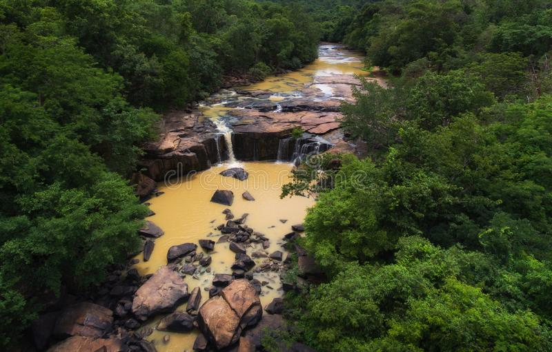 Aerial view of Tat Ton waterfall at Chaiyaphum in Thailand.  stock photos