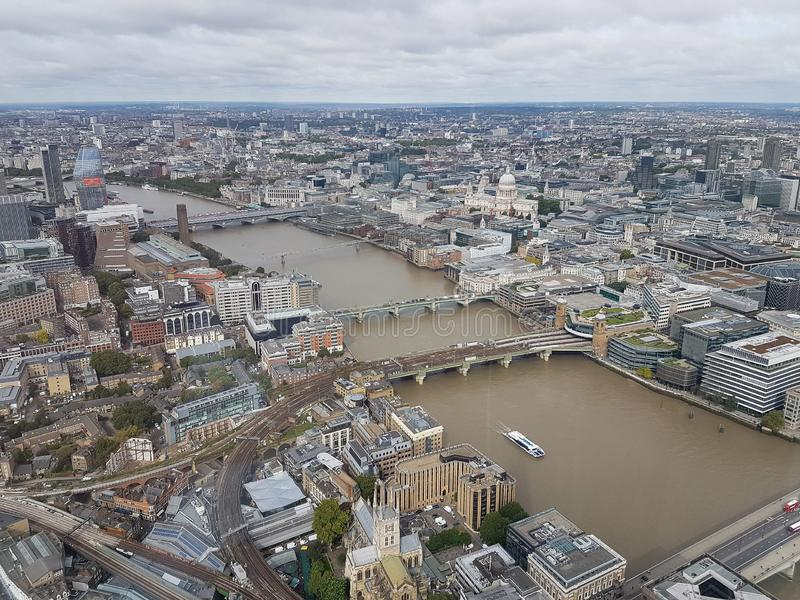 Aerial view of the Tate Modern the Millennium Bridge and St Pauls Cathedral taken from the world famous Shard royalty free stock image