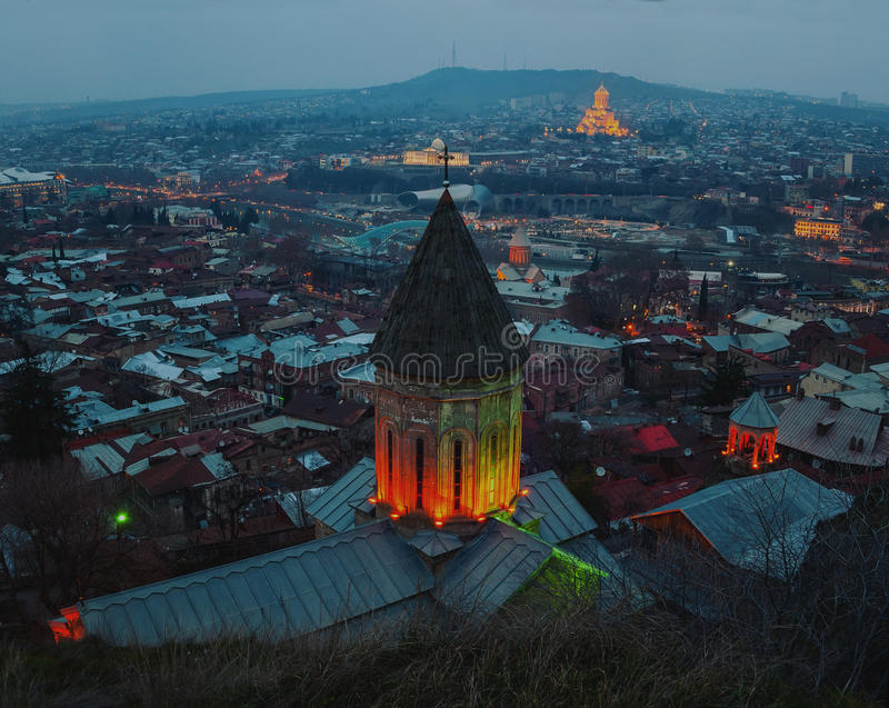Aerial view of Tbilisi, Georgia city center at royalty free stock images