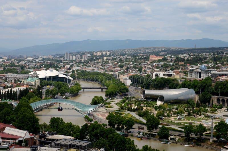 Aerial view of Tbilisi with Peace Bridge Presidential Palace Studio Fuksas Georgia stock image