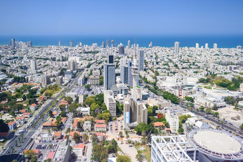 Aerial view of tel aviv skyline with urban skyscrapers and blue sky, Israel stock photography