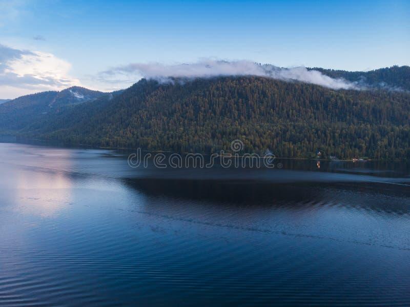 Aerial view on Teletskoye lake in Altai mountains stock photography