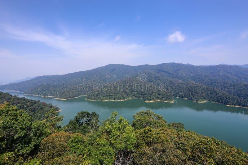 Aerial view of Temengor lake in Royal Belum. stock photos