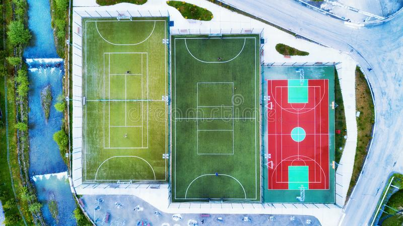 Aerial view on the tennis court. Sport composition from air. Concept and idea of sport and fitness from drone royalty free stock photos