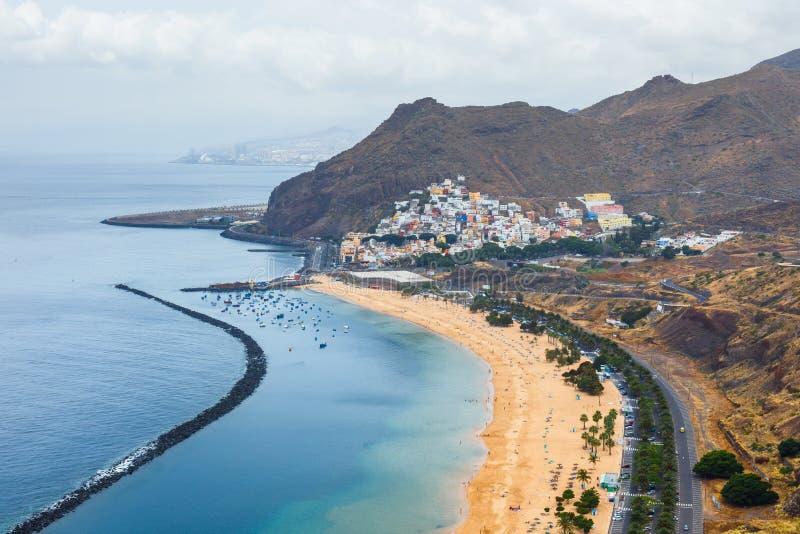 Aerial view on Teresitas beach near Santa Cruz, Tenerife. Canary islands, Spain stock photos