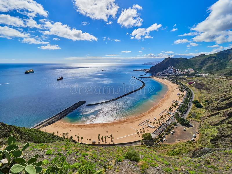 Aerial view of Teresitas Beach in Tenerife, Canary Islands, Spain.  royalty free stock photos