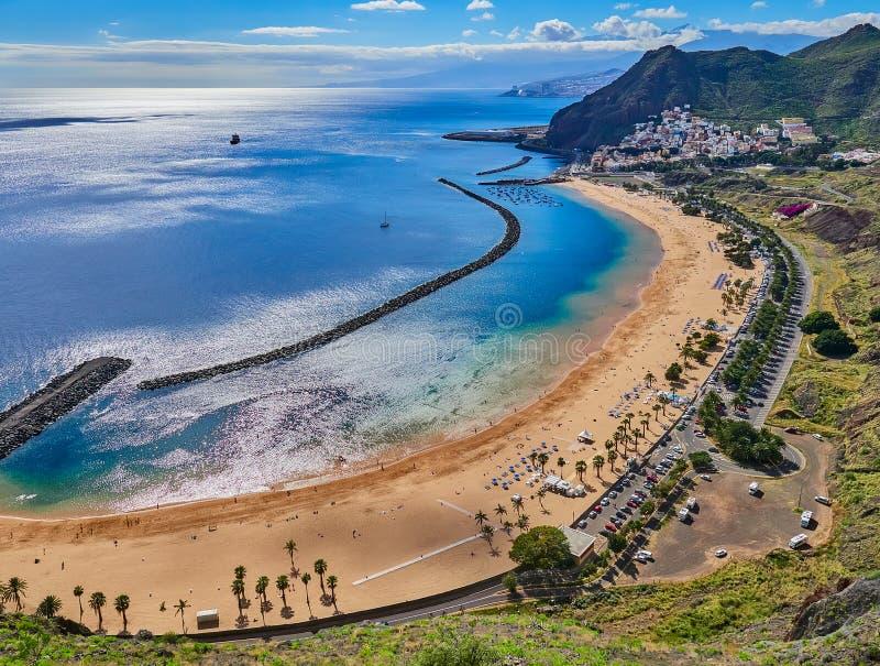 Aerial view of Teresitas Beach in Tenerife, Canary Islands, Spain.  stock photo