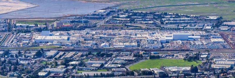 Aerial view of Tesla Motors Factory stock photos