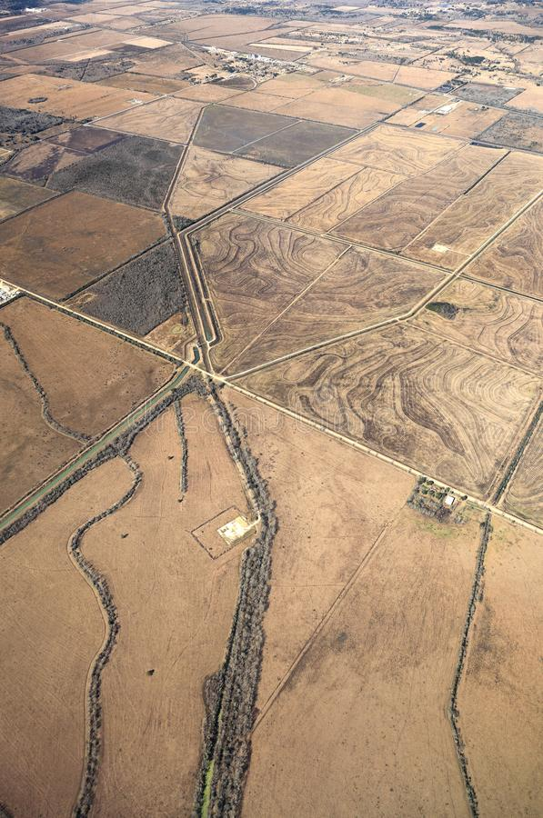 Texas Landscape Aerial View - USA. Aerial View of Texas Landscape with rural farmland and fields royalty free stock image