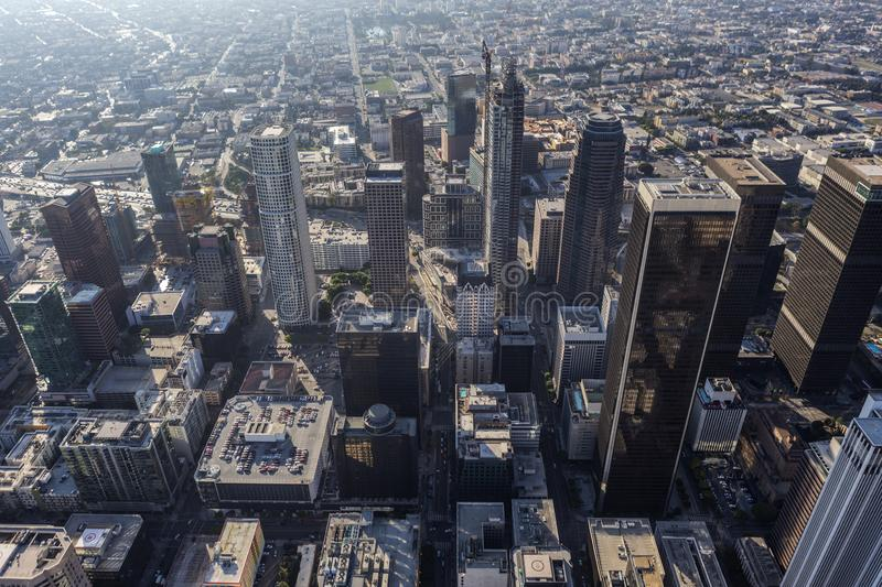 Aerial View 7th Street Downtown Los Angeles. Afternoon aerial view of towers and buildings near 7th street in downtown Los Angeles, California royalty free stock photo