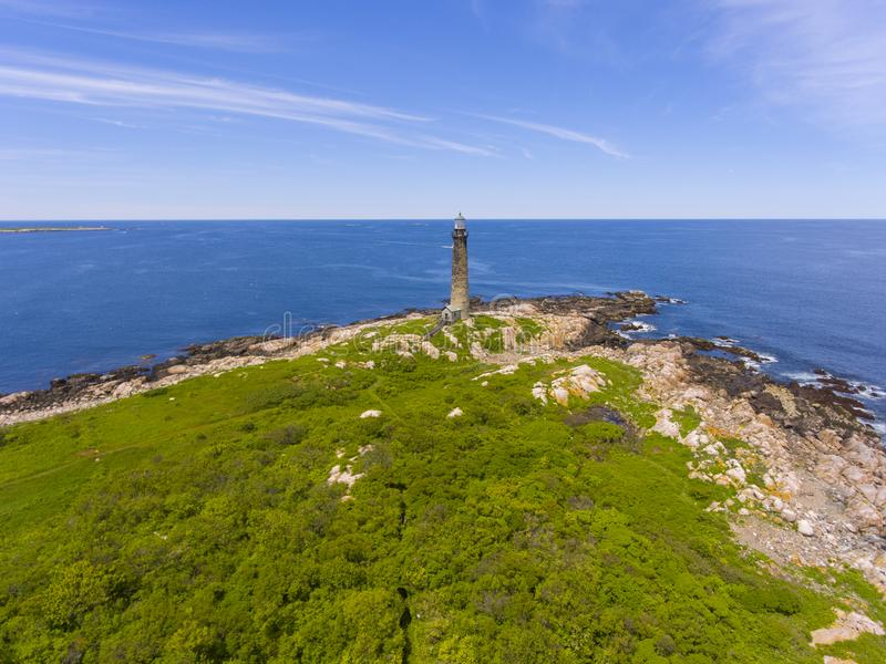Thacher Island Lighthouse, Cape Ann, MA, USA. Aerial view of Thacher Island Lighthouse on Thacher Island, Rockport, Cape Ann, Massachusetts, USA. Thacher Island royalty free stock photo