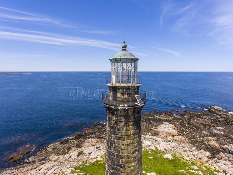 Thacher Island Lighthouse, Cape Ann, MA, USA. Aerial view of Thacher Island Lighthouse on Thacher Island, Rockport, Cape Ann, Massachusetts, USA. Thacher Island royalty free stock images