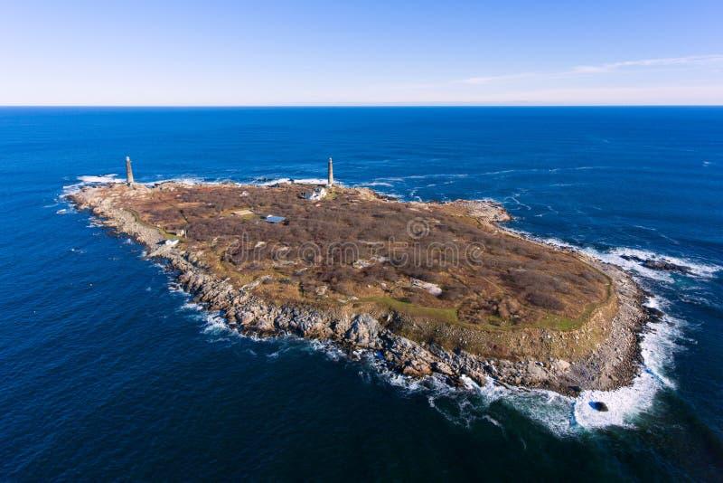 Thacher Island Lighthouses, Cape Ann, Massachusetts stock images