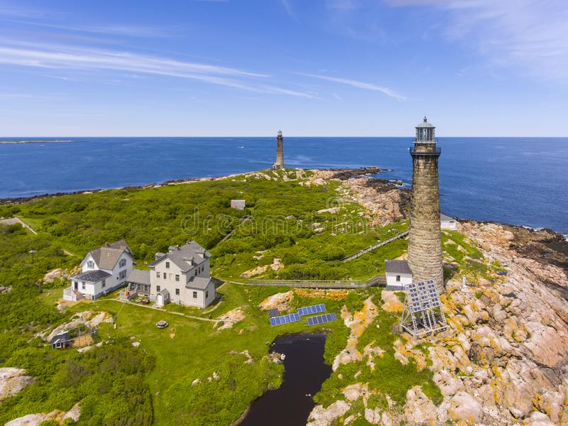Thacher Island Lighthouses, Cape Ann, MA, USA. Aerial view of Thacher Island Lighthouses on Thacher Island, Rockport, Cape Ann, Massachusetts, USA. Thacher royalty free stock image