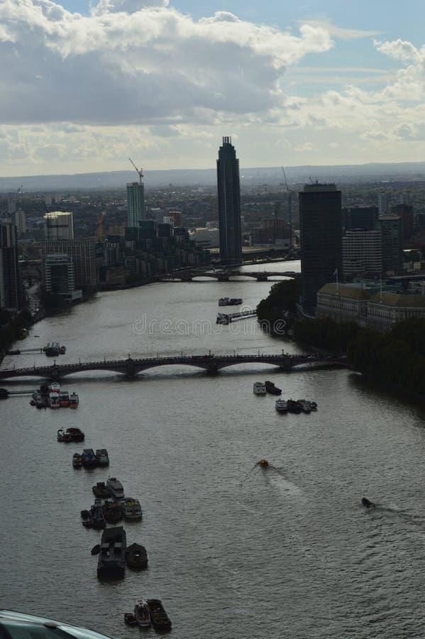 Aerial View of a Thames. Aerial View of Thames and buildings in London England stock photos